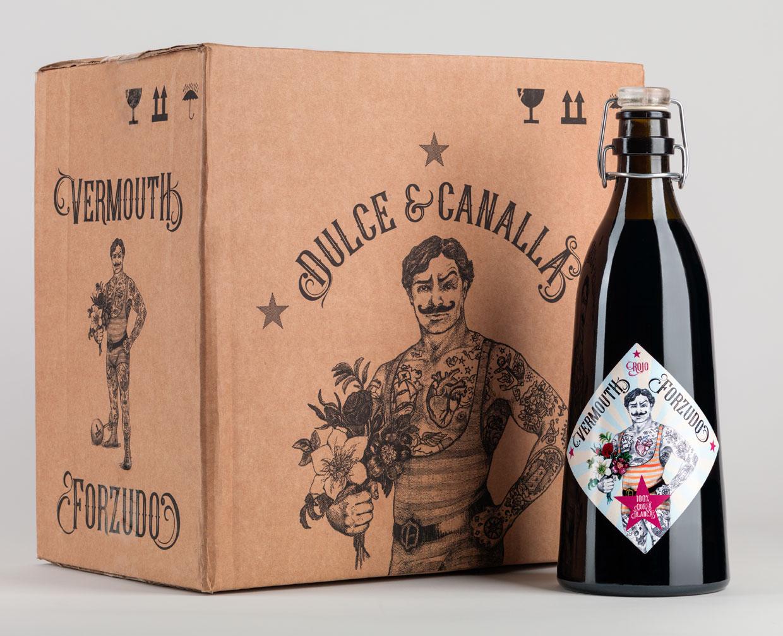 Caja de Vermouth Forzudo y botella de un litro