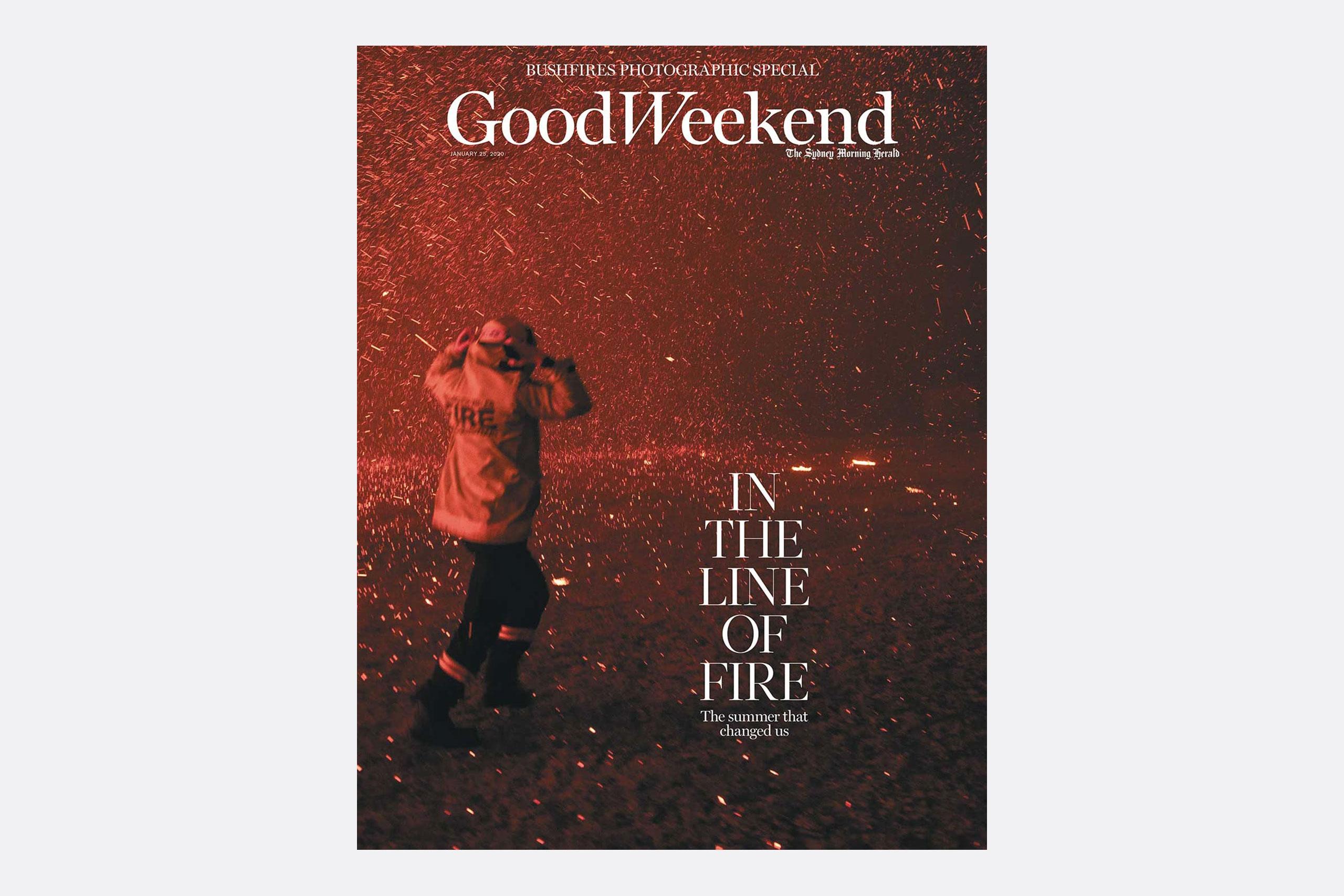 Portada de enero de Good Weekend magazine, fotografía por Nick Moir