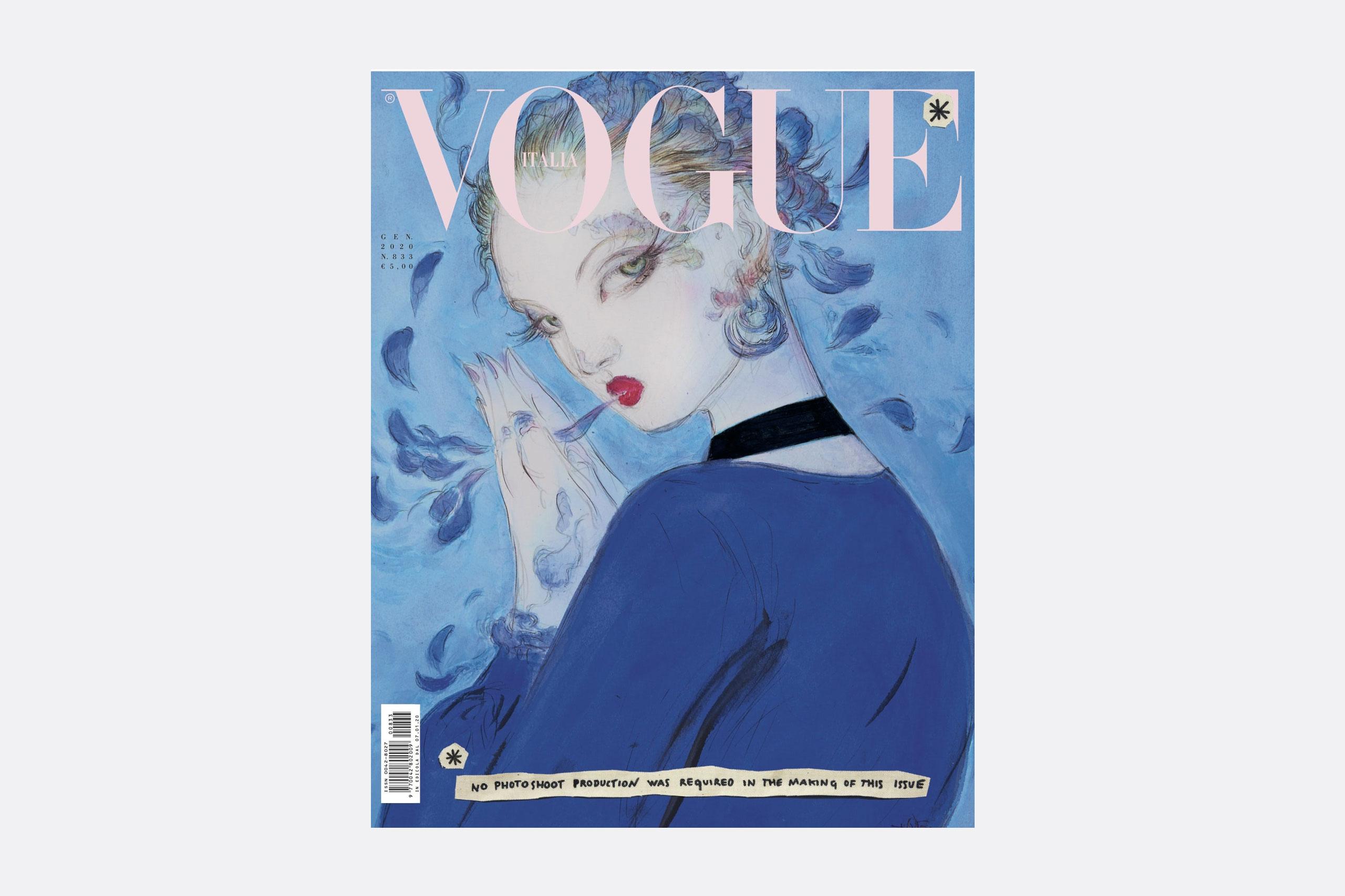 Vogue Italia, enero de 2020 issue cover, ilustración de Yoshitaka Amano
